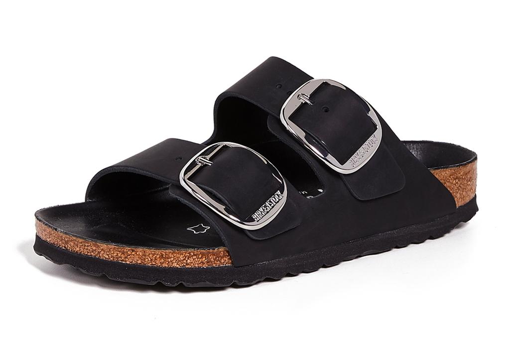 black sandals, double strap, leather, birkenstock