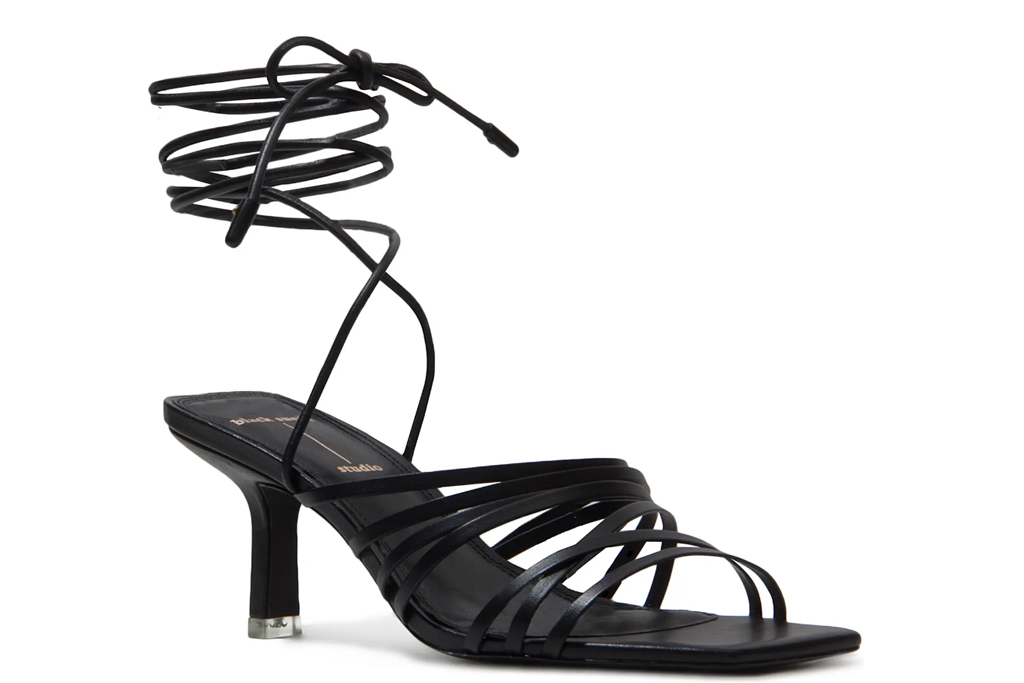 black sandals, wrap heels, black suede studio