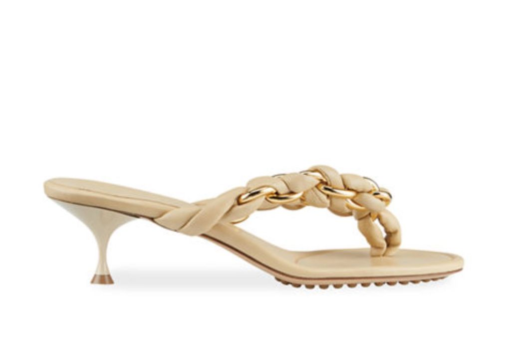bottega veneta, dot woven chain thong sandals