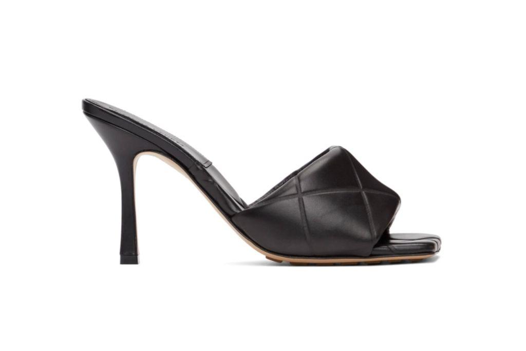 bottega veneta, rubber sandal, black padded heels