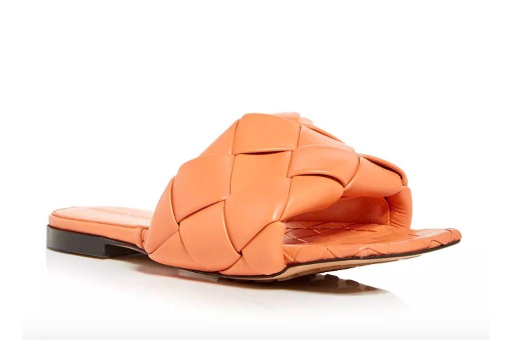 bottega veneta, orange slides, puffy sandals