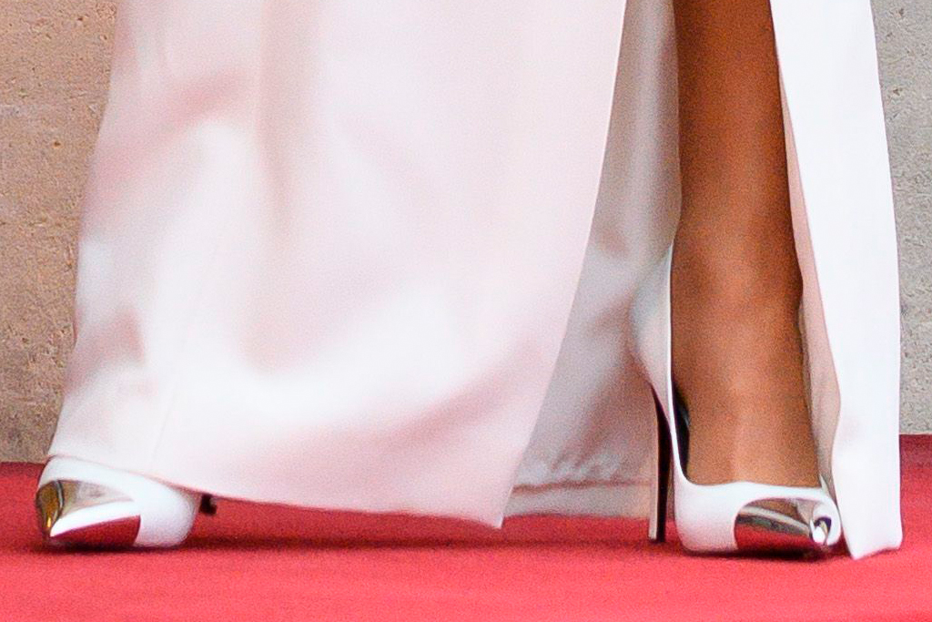 brigitte macron, gown, dress, heels, pumps, white dress, french first lady, state dinner, emmanuel macron, paris