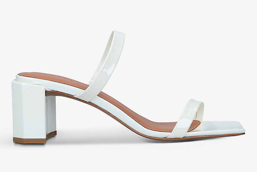 white mules, sandals, double strap, by far