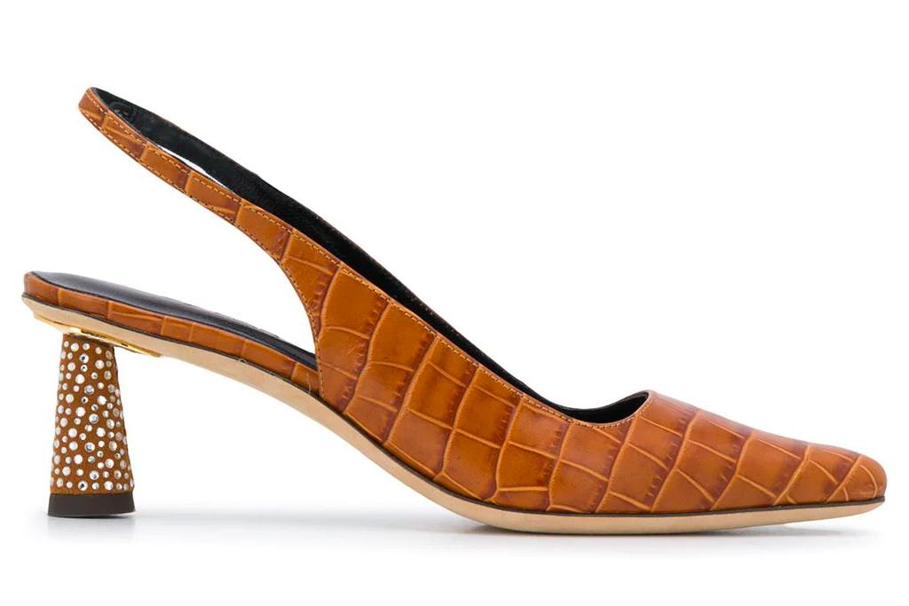 tan heels, nude slingbacks, by far