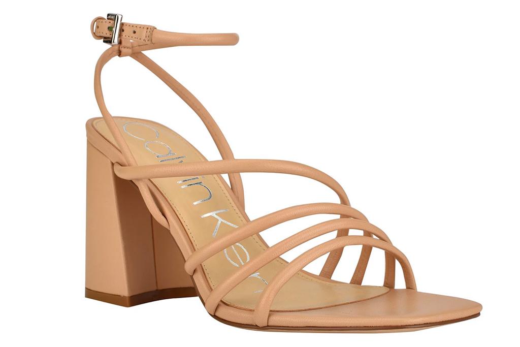 sandals, nude heels, calvin klein