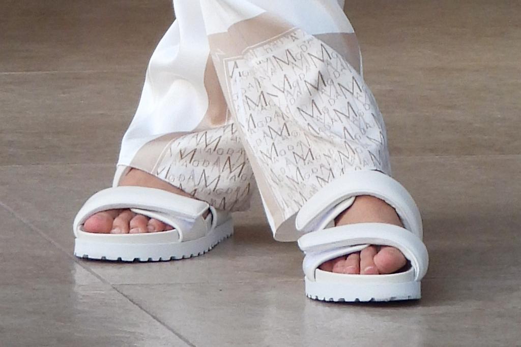 candice swanepoel, silk shirt, pants, ugly sandals, magda butrym, france, cannes film festival