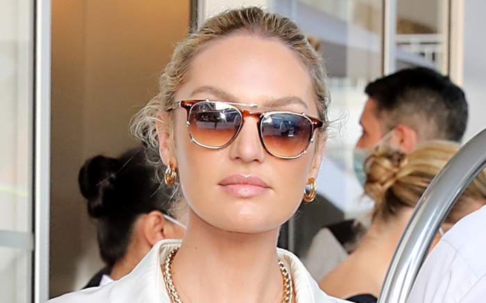 candice-swanepoel-silk-shirt-ugly-sandals