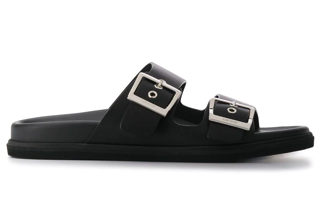 black sandals, double strap, leather, car shoe