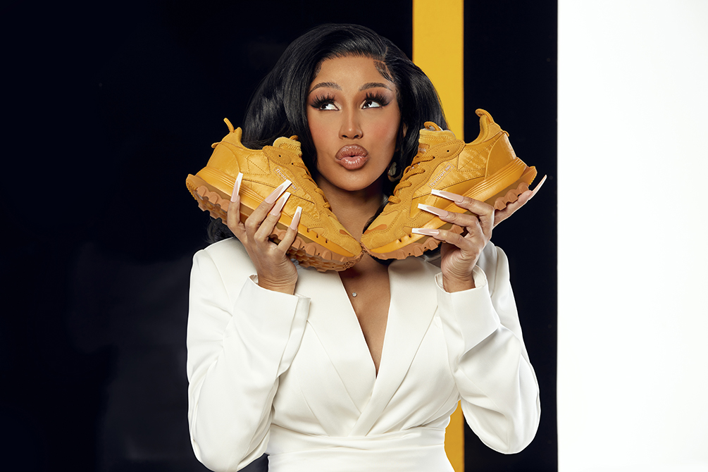 cardi b, reebok, sneakers, leather, gold, dress