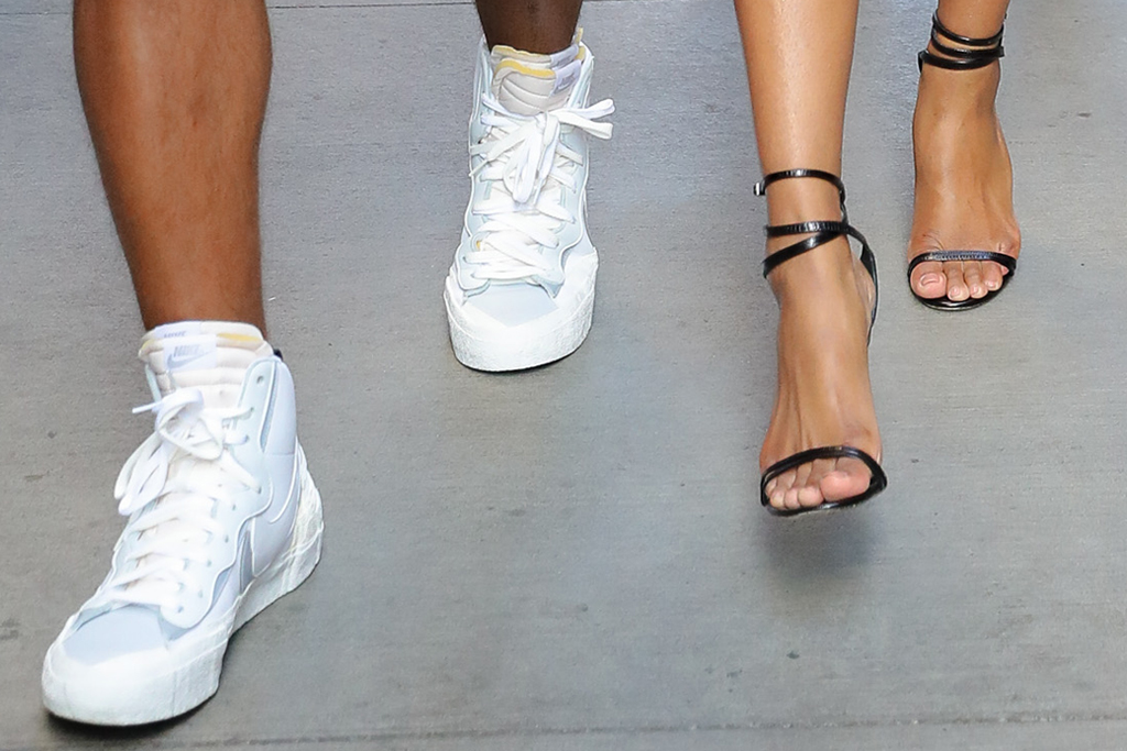 ciara, leather dress, minidress, heels, sandals, blonde, russell wilson, date, new york