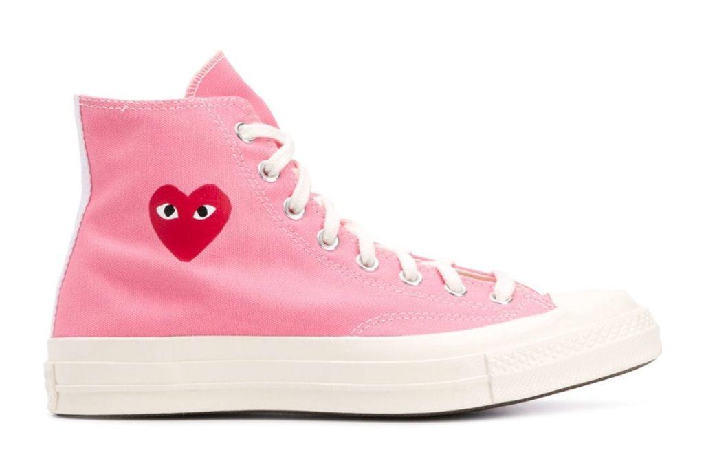 comme des garcons, converse, pink shoes
