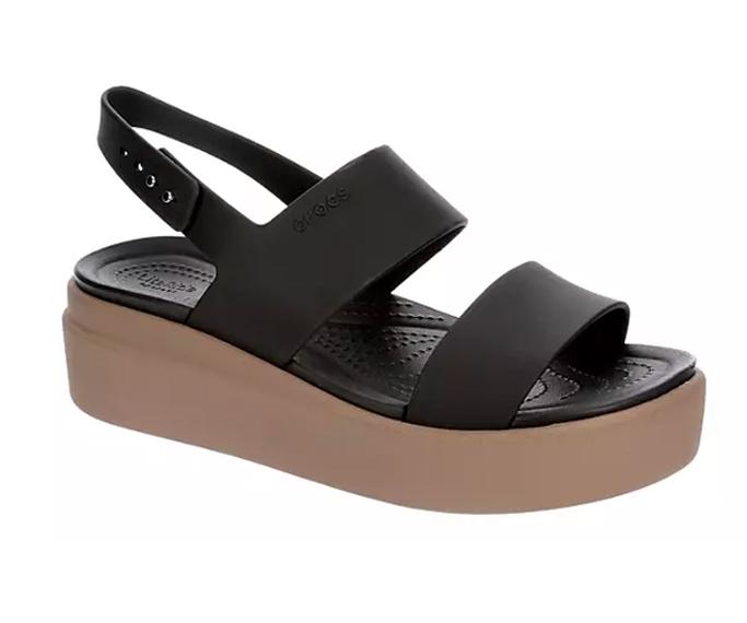 Women's Crocs Brooklyn Low Wedge black and tan