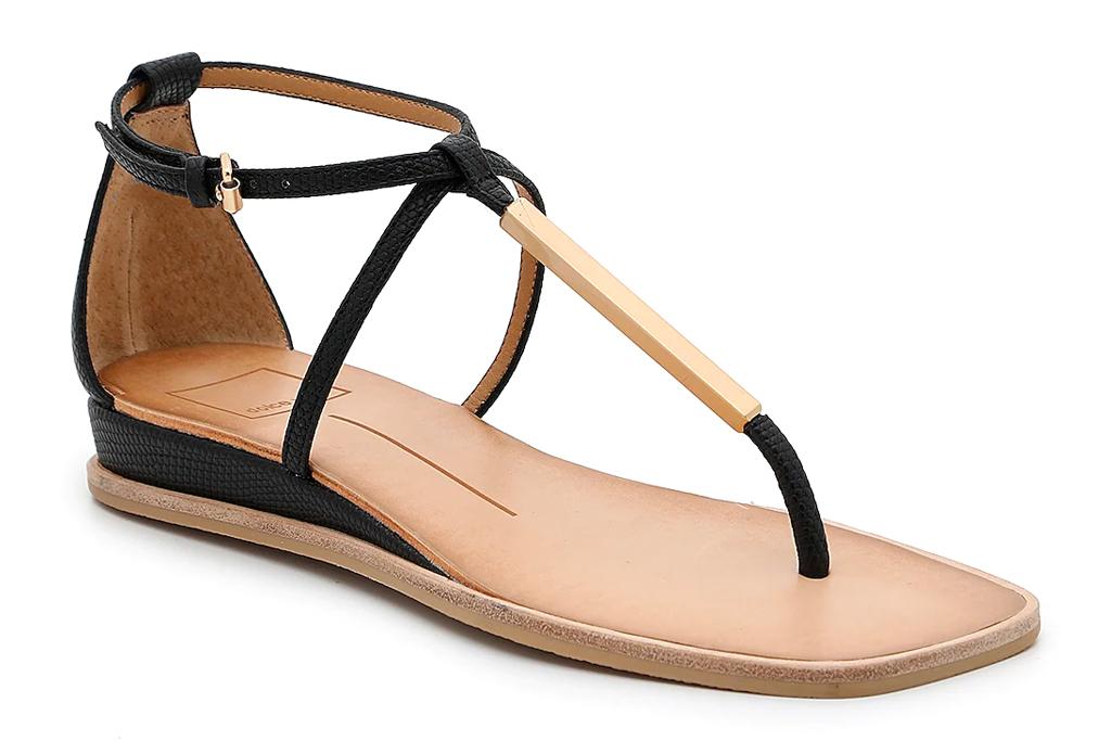 thong sandals, black, gold, dolce vita