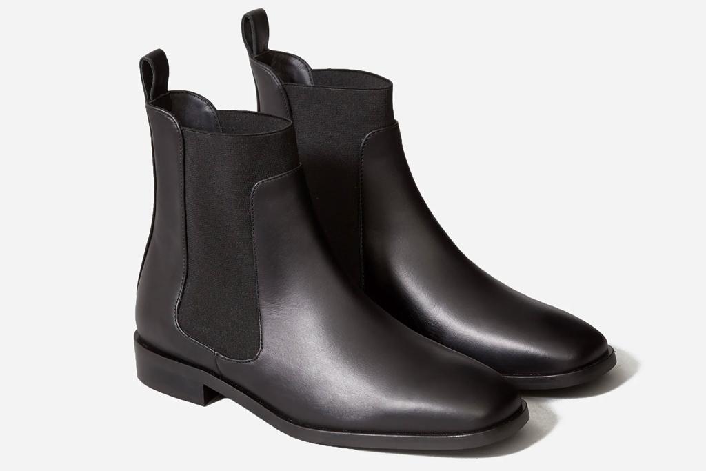 square toe boots, black, everlane