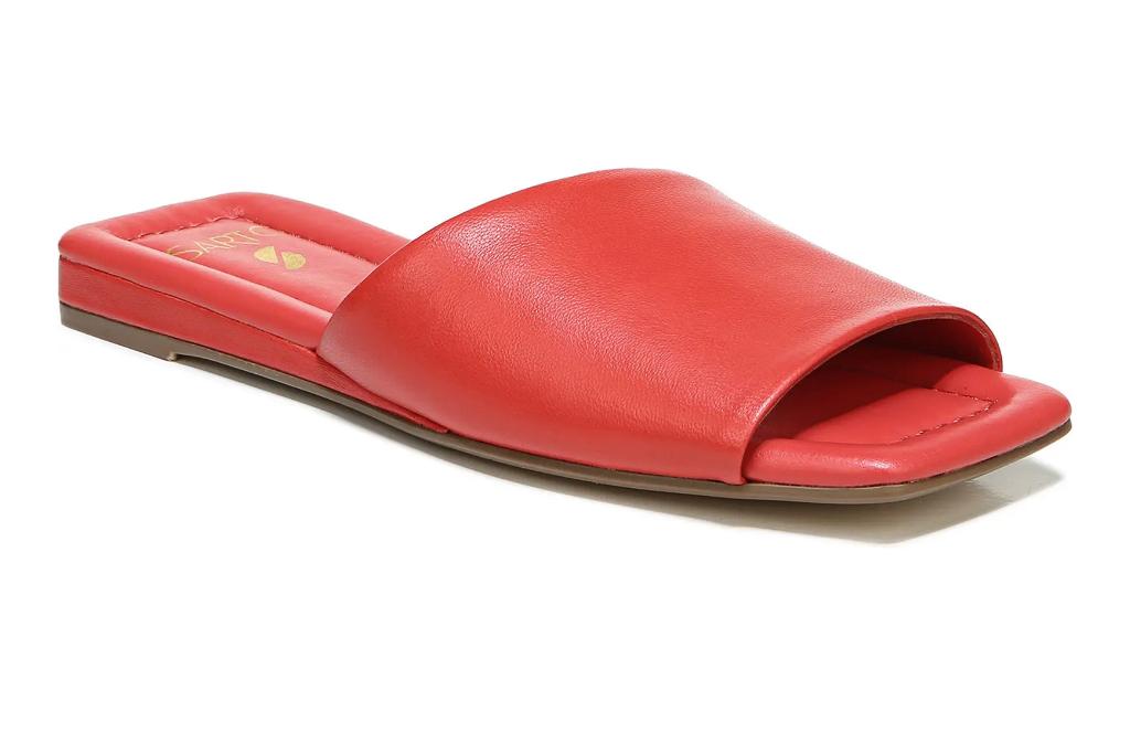 red slides, leather sandals, flats, franco sarto