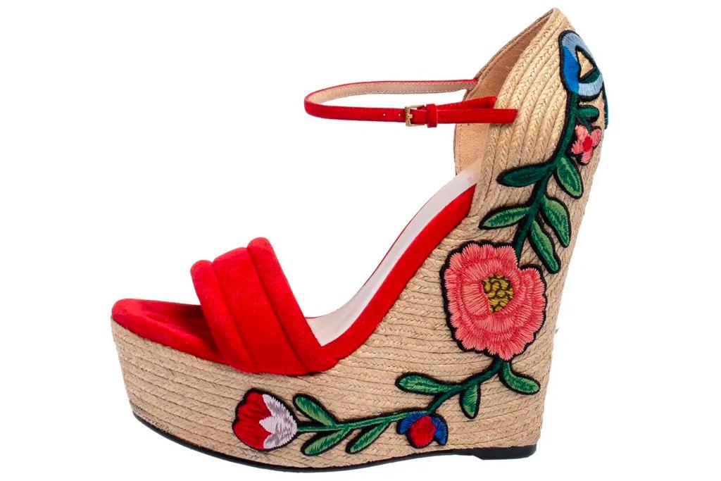 gucci, wedges, sandals, rose