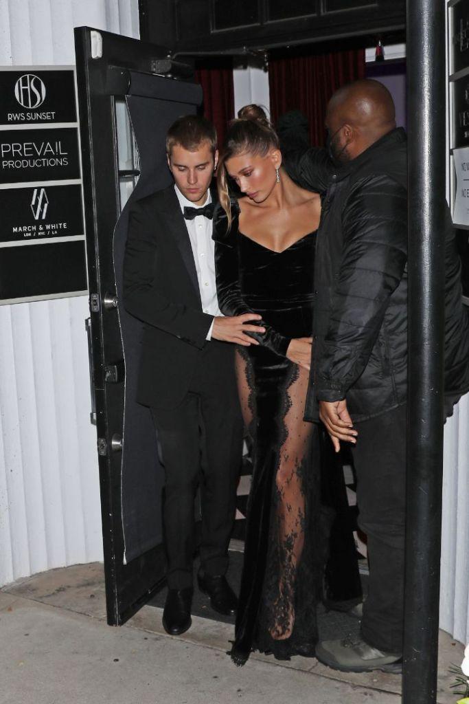 hailey baldwin, gown, velvet dress, lace, hair, black heels, justin bieber, tuxedo, freedom art gallery, la