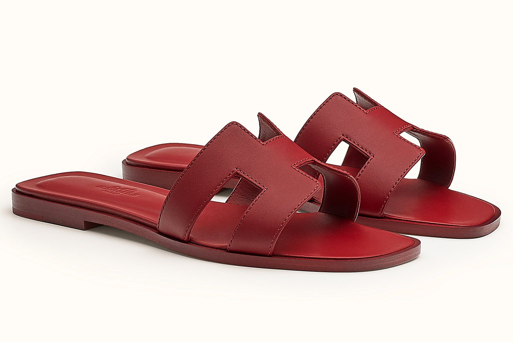hermes, sandals, white, leather, red
