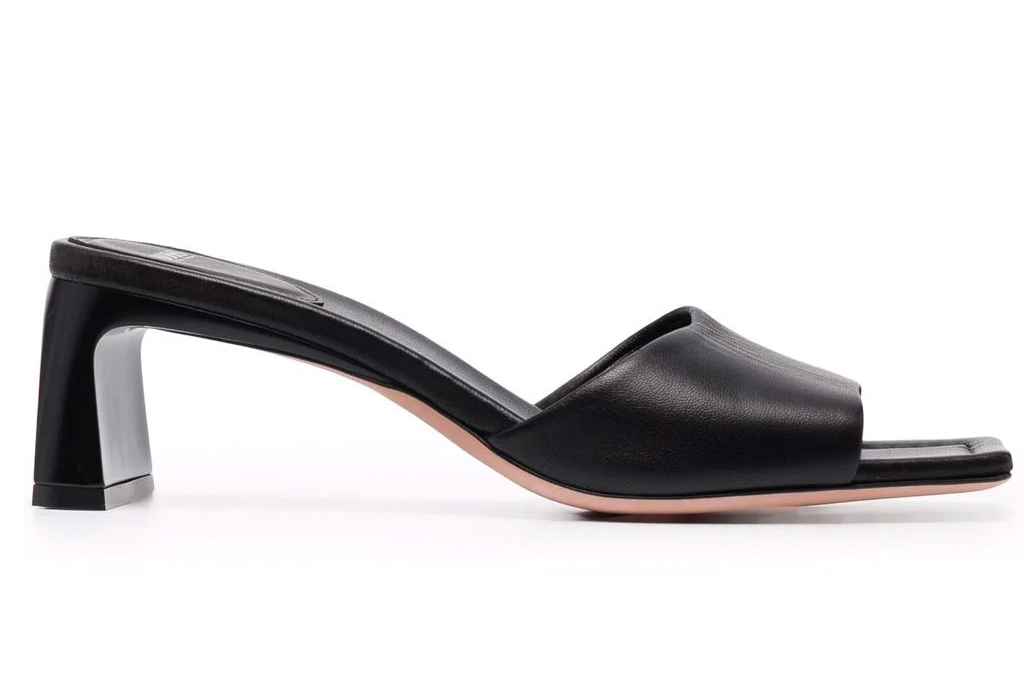 black mules, heels, square toe, hugo bosos