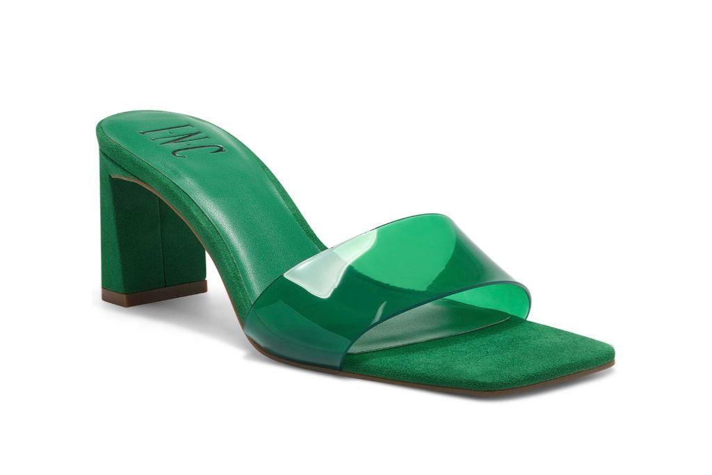 inc, beyla dress slides, green square heels
