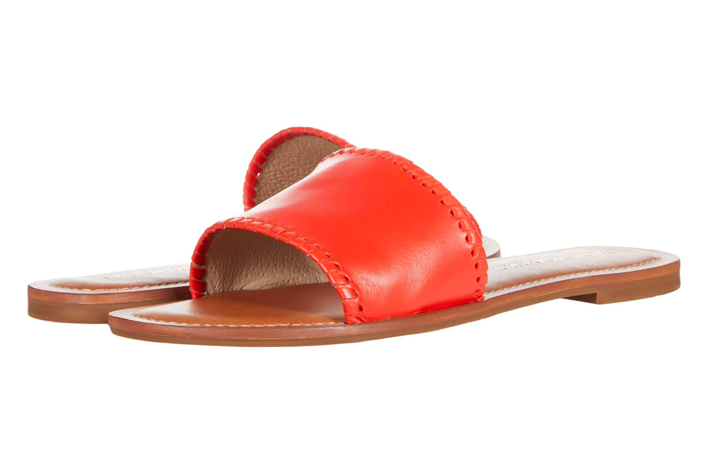 red slides, leather sandals, flats, jack rogers