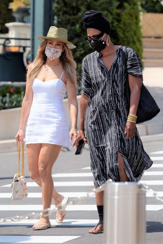 jennifer lopez. dress, minidress, sundress, hat, thong sandals, face mask, flip flops, purse, ben affleck, necklace, monaco