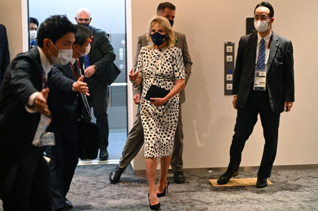 jill biden, dress, polka dot dress, heels, slingbacks, stilettos, japan, tokyo, olympics, emperor of japan
