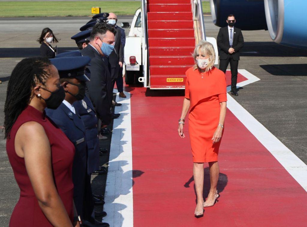 jill biden, red dress, cape dress, heels, tan heels, valentino, tokyo, olympics, first lady, japan
