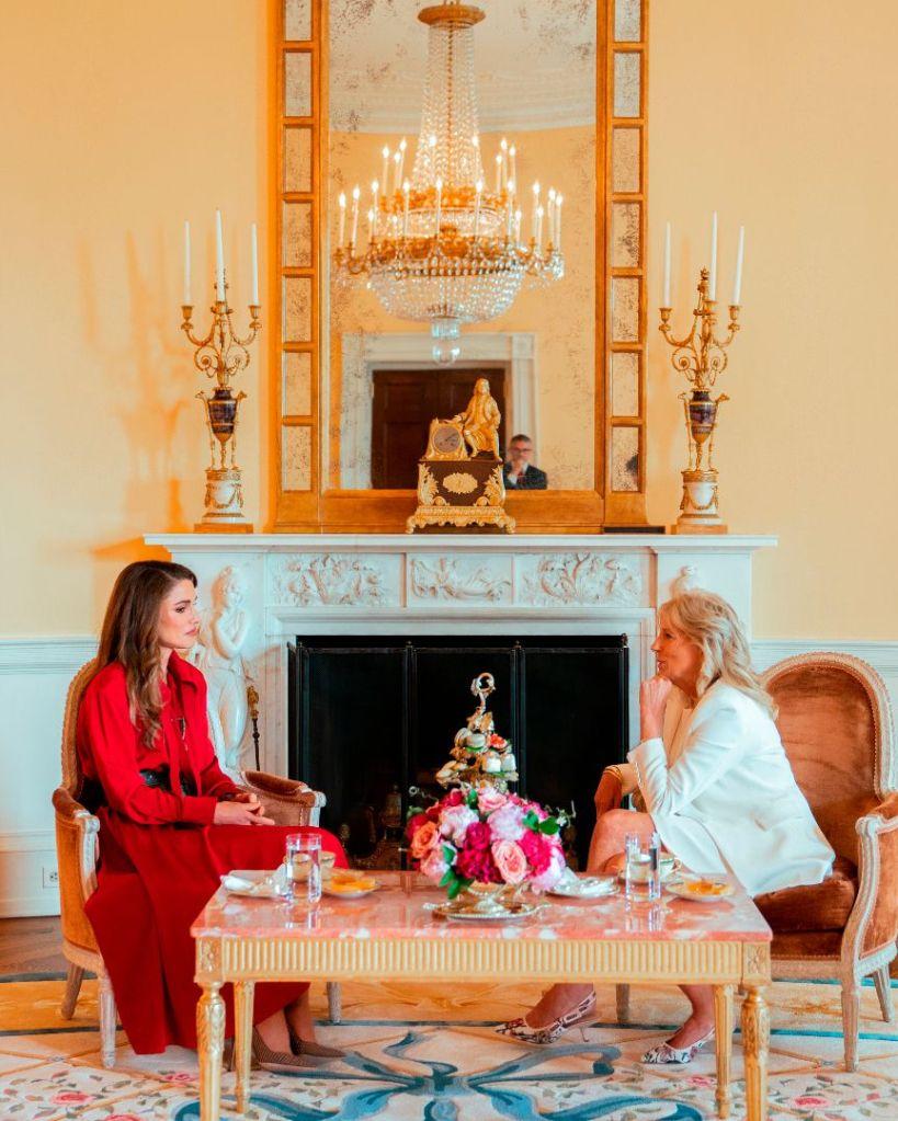 jill biden, white dress, jacket, floral heels, dior, queen rania of jordan, white house, meeting, red dress
