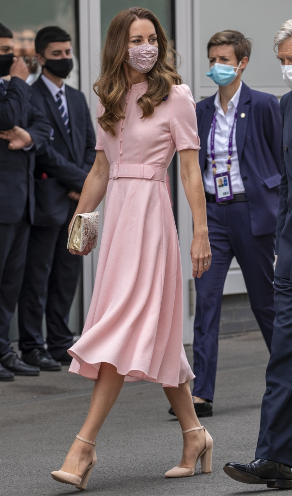 kate middleton, pink dress, block heels, wimbledon