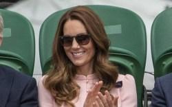 kate middleton, pink dress, block heels,