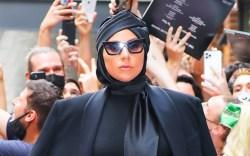 Lady Gaga, bodysuit, glitter tights, platform