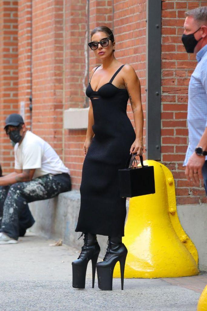 lady gaga, bustier, dress, cutout dress, platform boots, platforms, 9 inch heels, new york, photo shoot
