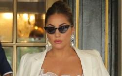 lady gaga, dress, gown, white dress,