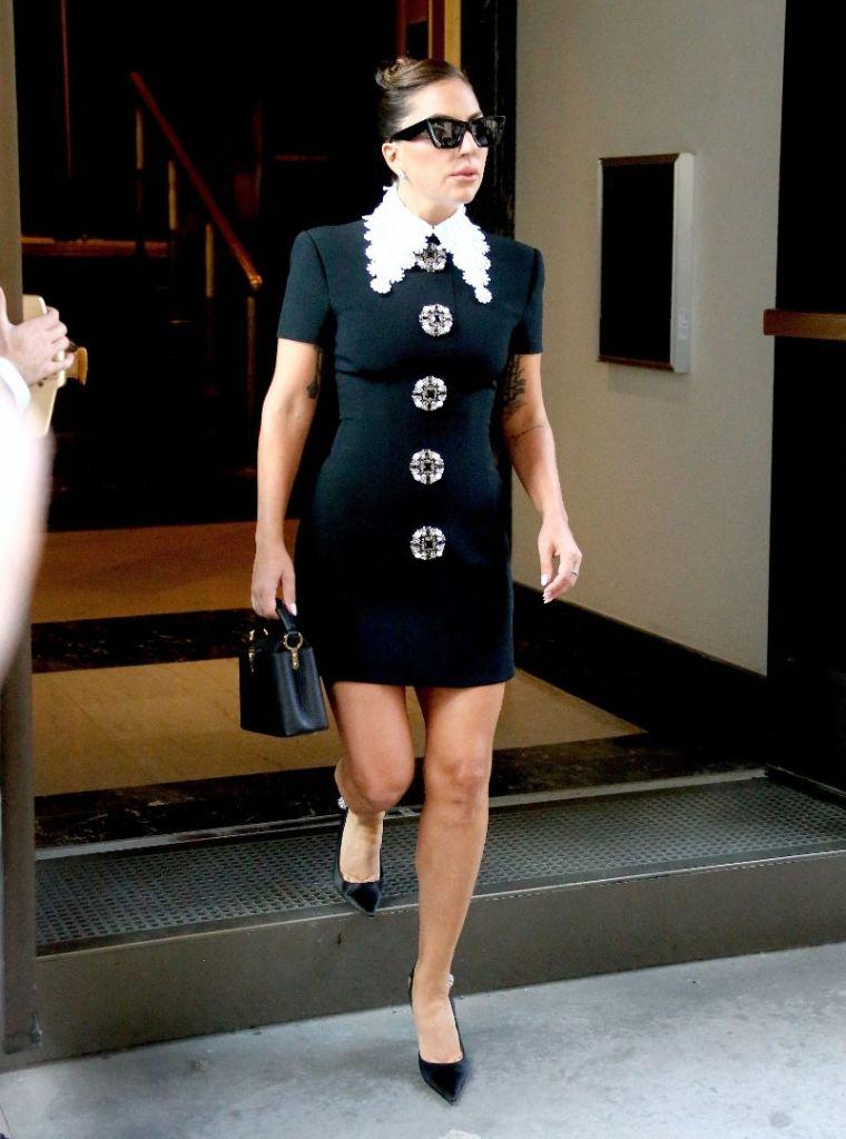 lady gaga, dress, collared dress, andrew gn, heels, pumps, new york, black dress