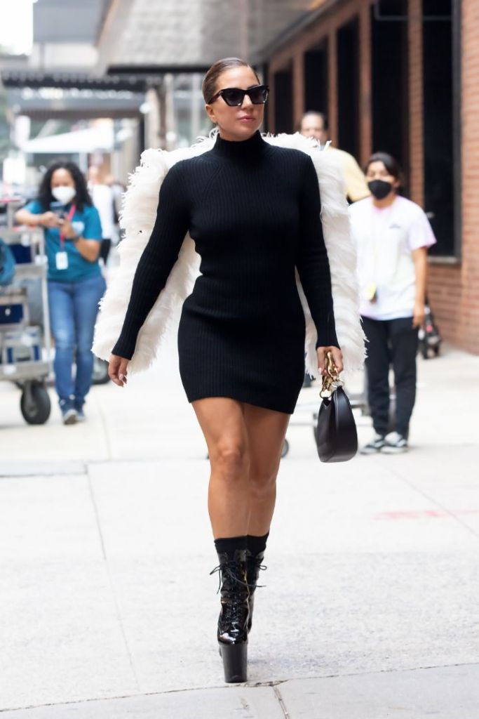 lady gaga, dress, little black dress, lbd, feathers, heels, platform boots, sunglasses, new york, studio, phoot shoot
