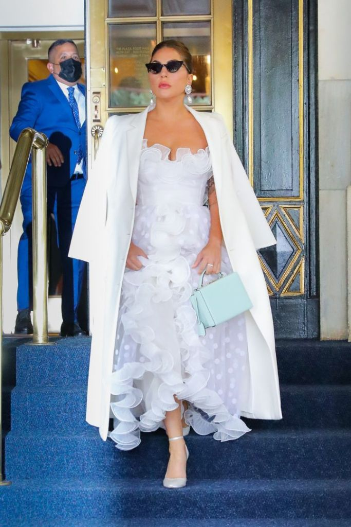 lady gaga, dress, coat, white dress, heels, pumps, new york