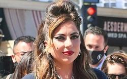 lady gaga, mesh dress, heels, dress,