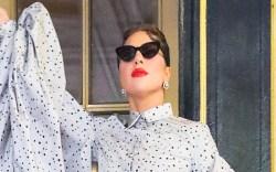 lady gaga, puff sleeve blouse, skirt,