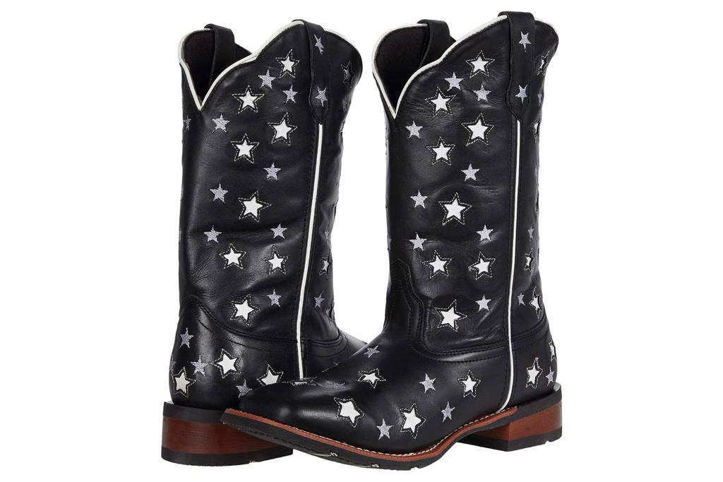 star boots, black, leather, laredo