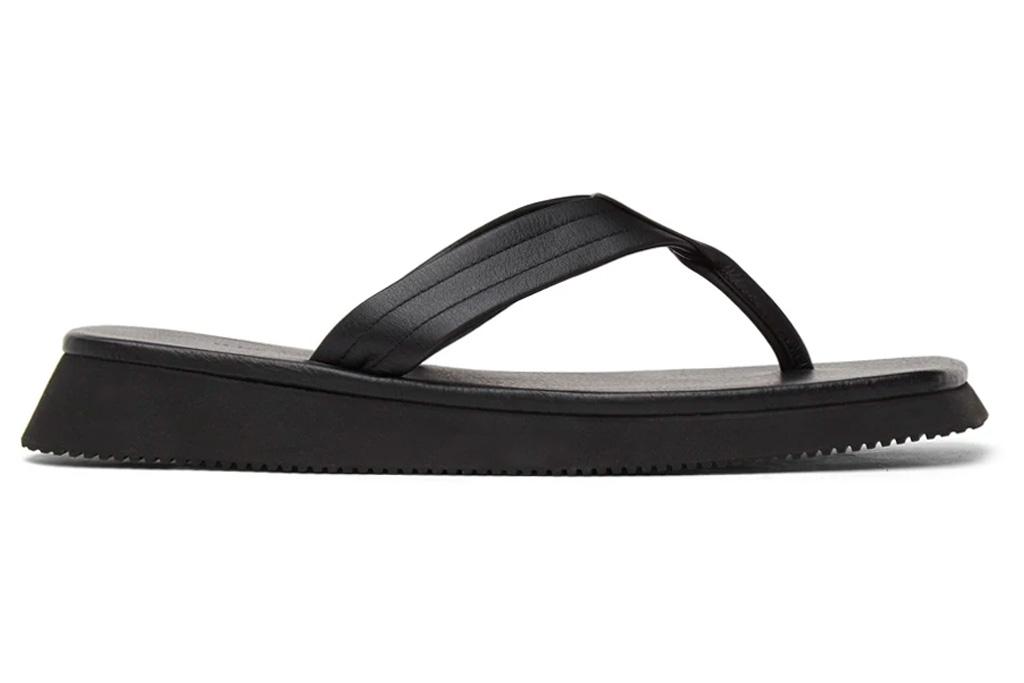 thong sandals, square toe, black, le17septembre