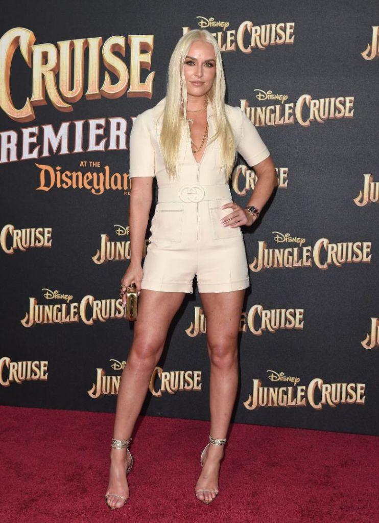 lindsey vonn, romper, heels, sandals, red carpet, gucci, jumpsuit, jungle cruise, premiere, la, disneyland
