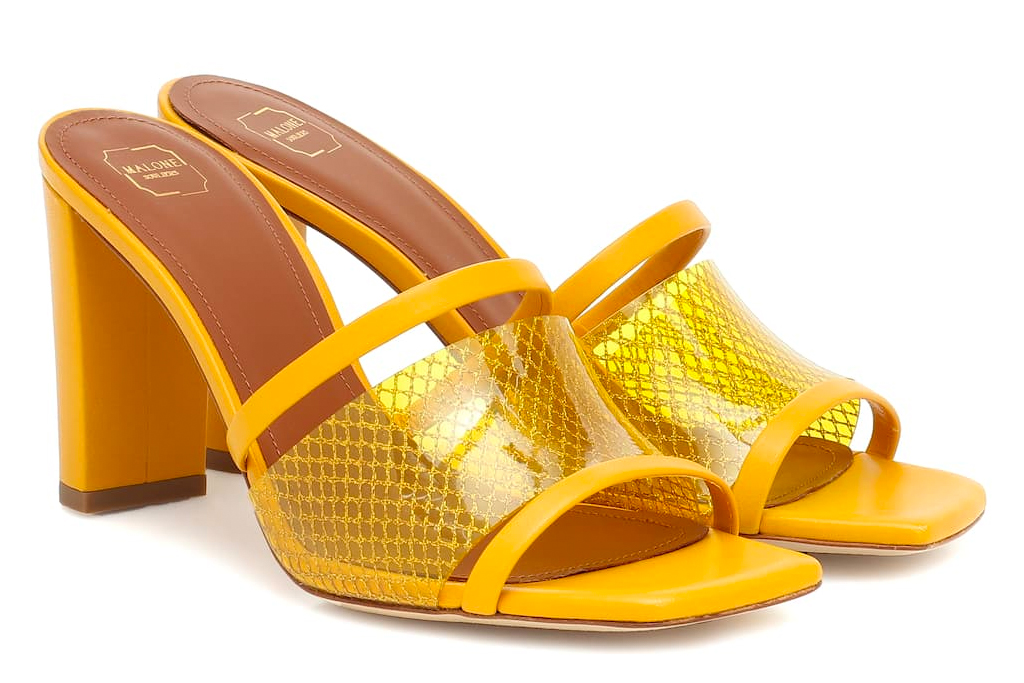 yellow sandals, square toe, heels, malone souliers