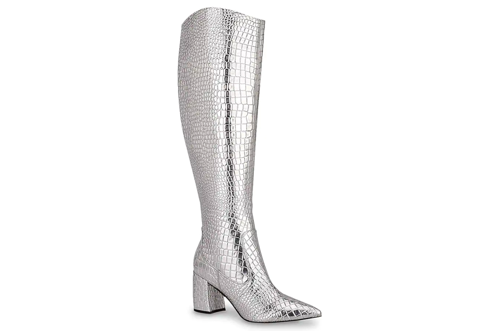 silver boots, gogo, marc fisher