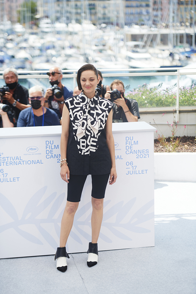 Marion Cotillard at the photo call for 'Annette' during the 2021 Cannes Film Festival in Cannes, Frances on July 6, 2021.