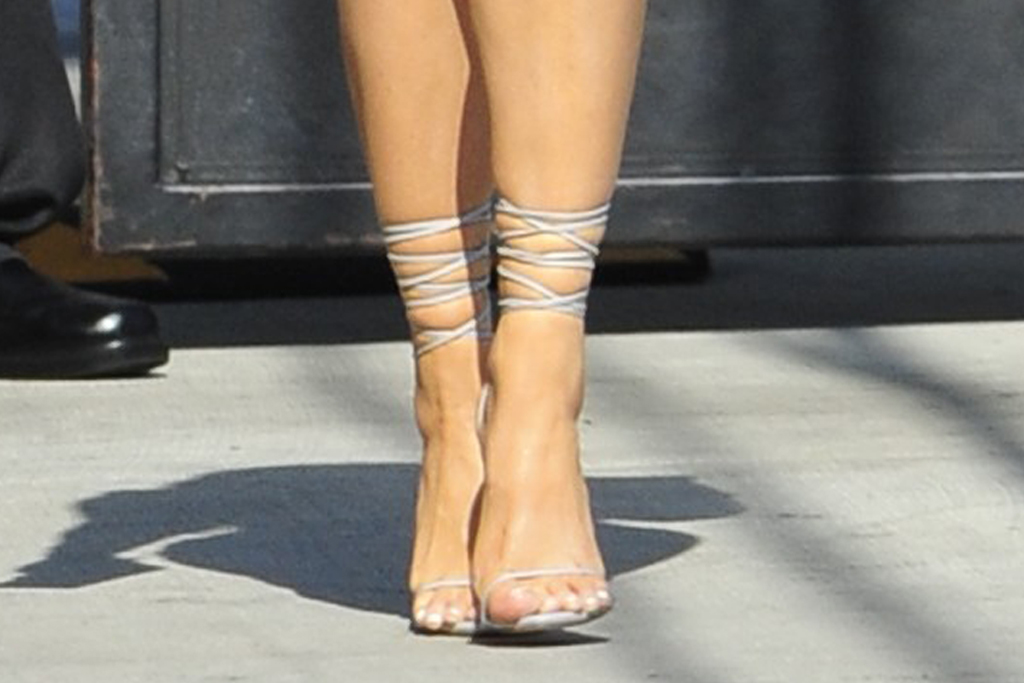 megan fox, corset, dress, wrap heels, sandals, jimmy kimmel, la