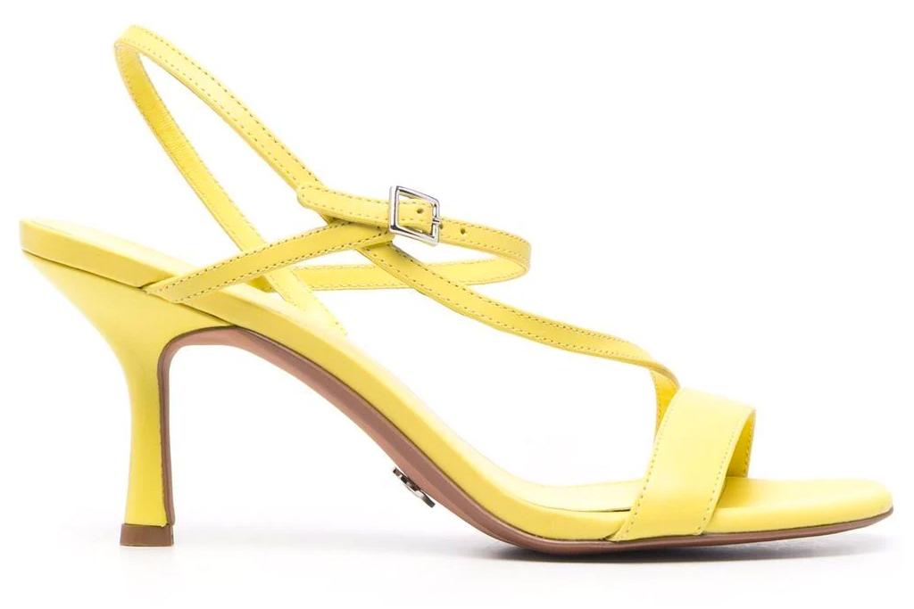 yellow sandals, square toe, heels, michael kors