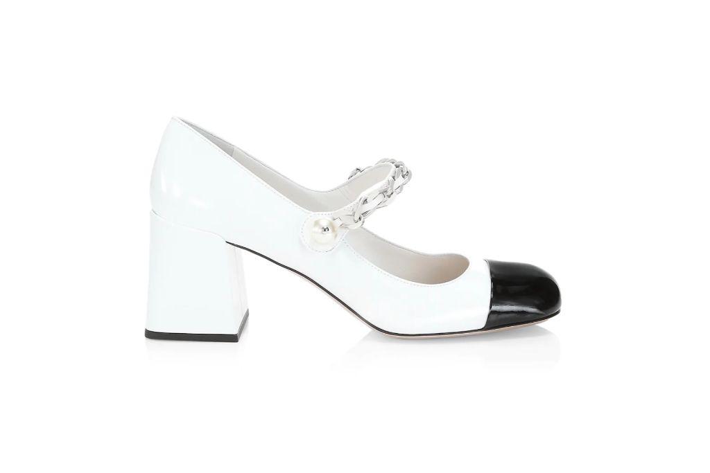 miu miu, mary jane pumps, black and white heels