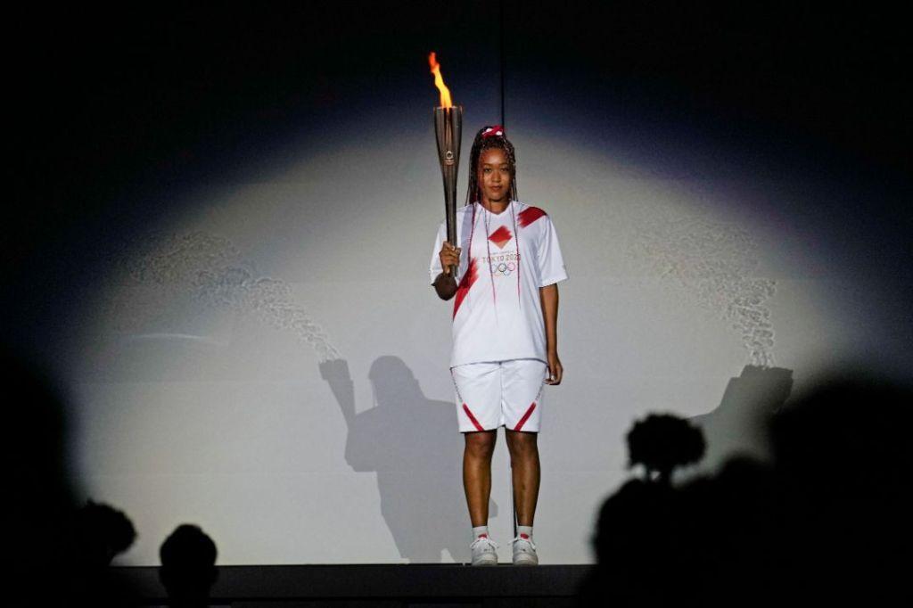 naomi osaka, shorts, nike, olympics, opening ceremony, tokyo, summer olympics, air force 1, sneakers, torch
