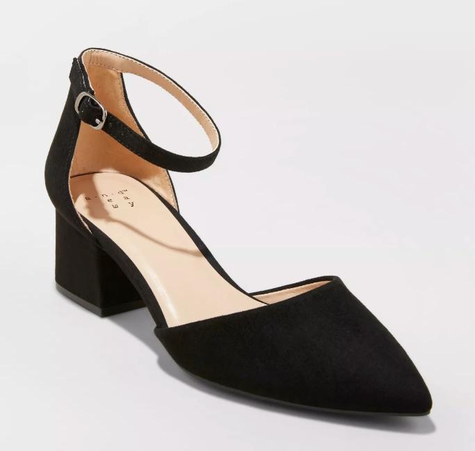 Natalia microsuede pointed toe block heeled pumps, best Target heels